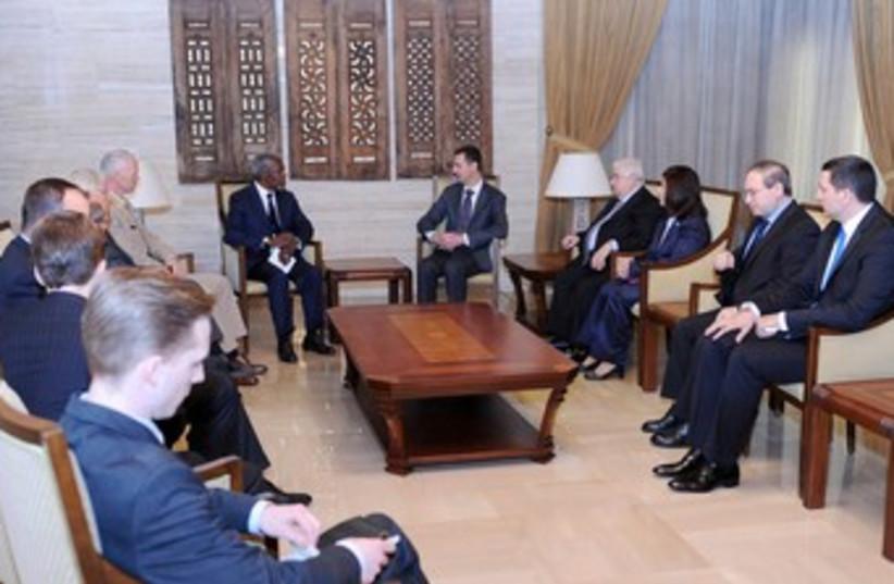 Assad meets Annan in Damascus 370.jpg (photo credit: REUTERS)