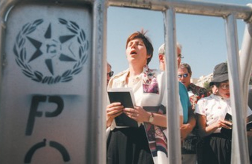 ANAT HOFFMAN at the Western Wall 370 (photo credit: Reuters)