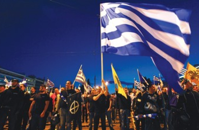 Greeks marching (photo credit: REUTERS)