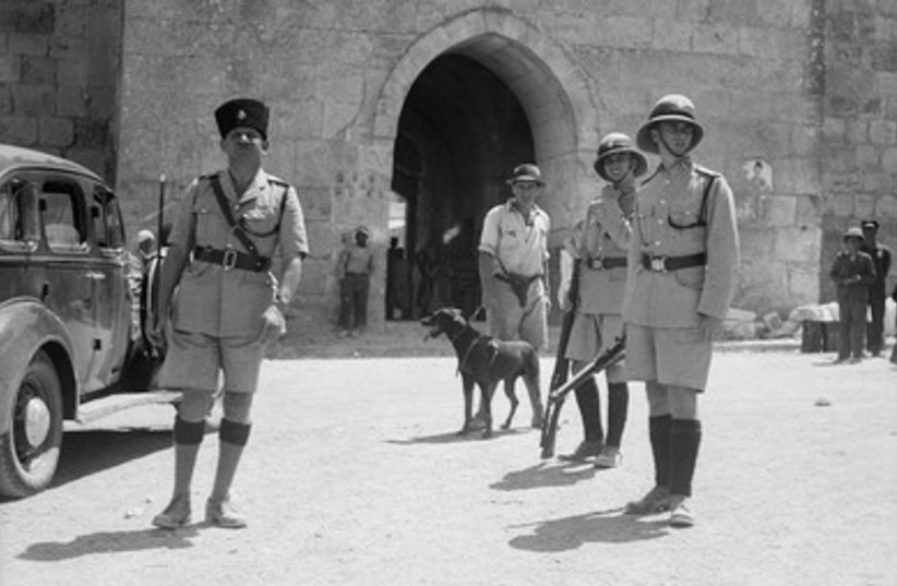British police with dogs at Herod's Gate (1937)