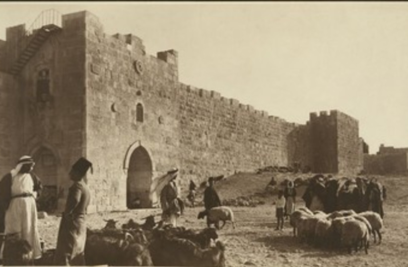 Sheep market outside of Herod's Gate (circa 1900) (photo credit: American Colony-Jerusalem-Photo Dept.)