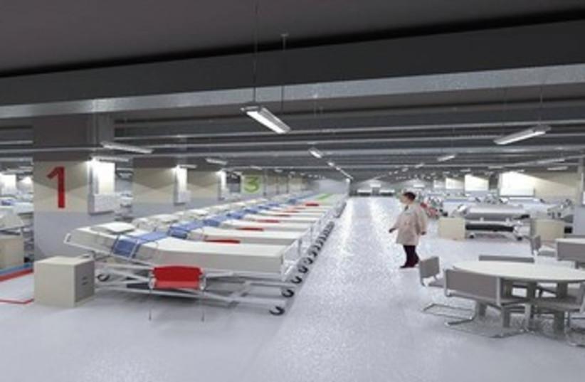 Rambam parking lot emergency hospital 370 (photo credit: Rambam Medical Center)