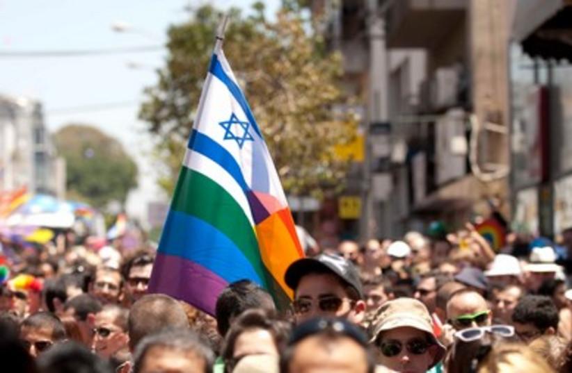 Israeli, LGBTQ flag (photo credit: Hadas Parush)