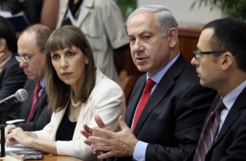 Netanyahu at start of Cabinet meeting 370 (photo credit: Marc Israel Sellem/The Jerusalem Post)
