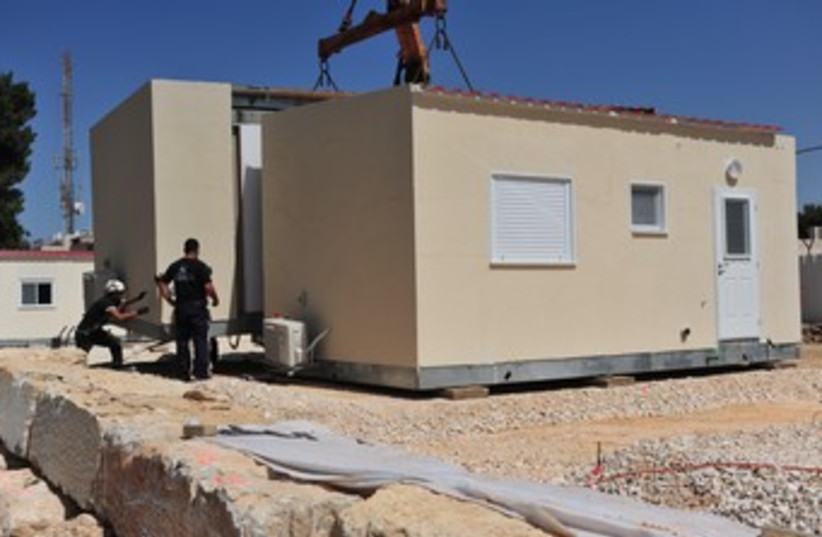 Mobile homes placed at Binyamin Regional Brigade's base 370 (photo credit: Defense Ministry)