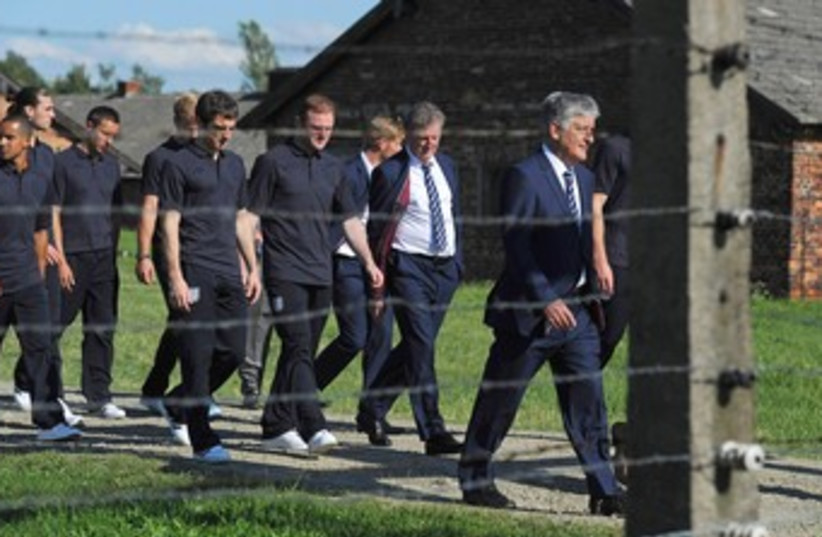 England in Auschwitz (photo credit: REUTERS/POOL New)