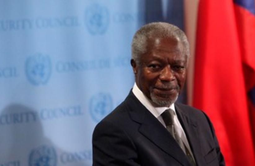 UN-Arab League special envoy Kofi Annan 370 (R) (photo credit: REUTERS/Allison Joyce)