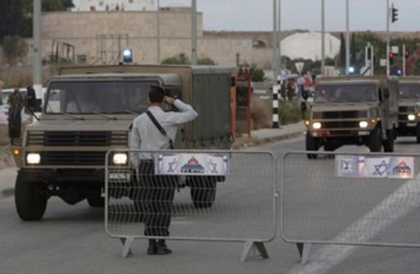 Entrance to IDF base 370 (photo credit: REUTERS/Eliana Aponte)