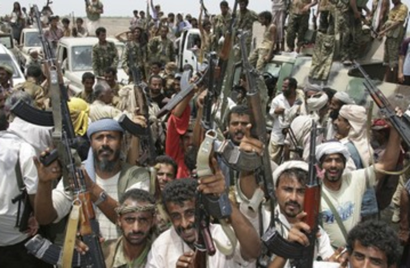 Tribesman in Yemen celebrate anti-terror operation 370 (photo credit: REUTERS)
