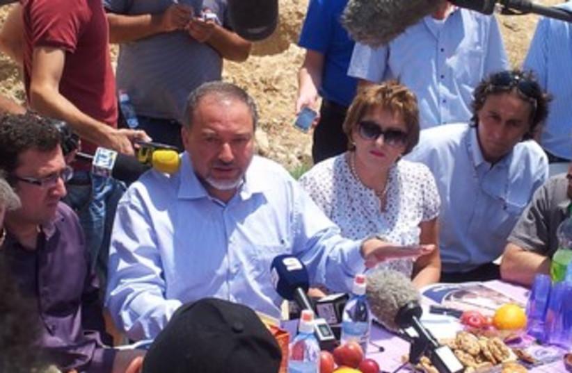 Liberman at press conference in Beduin village of al-Zarnug  (photo credit: Yisrael Beytenu)