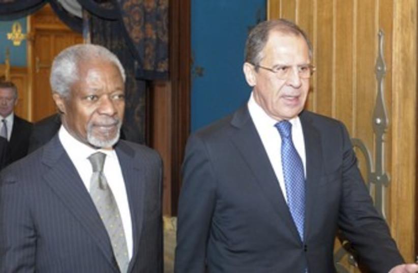 Kofi Annan with Russian FM Lavrov 370 (photo credit: REUTERS)