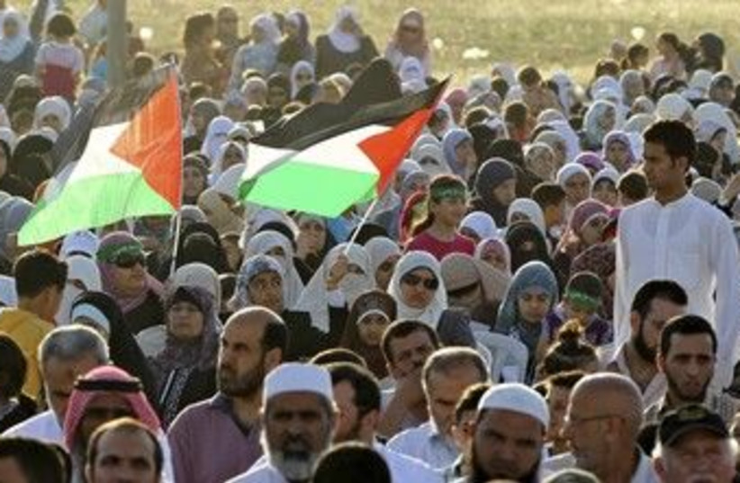 Muslim Brotherhood supporters at rally in Amman 370 (R) (photo credit: Muhammad Hamed / Reuters)