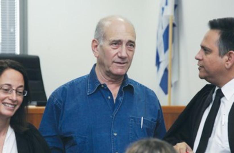 FORMER PRIME MINISTER Ehud Olmert in court 370 (photo credit: Marc Israel Sellem/The Jerusalem Post)