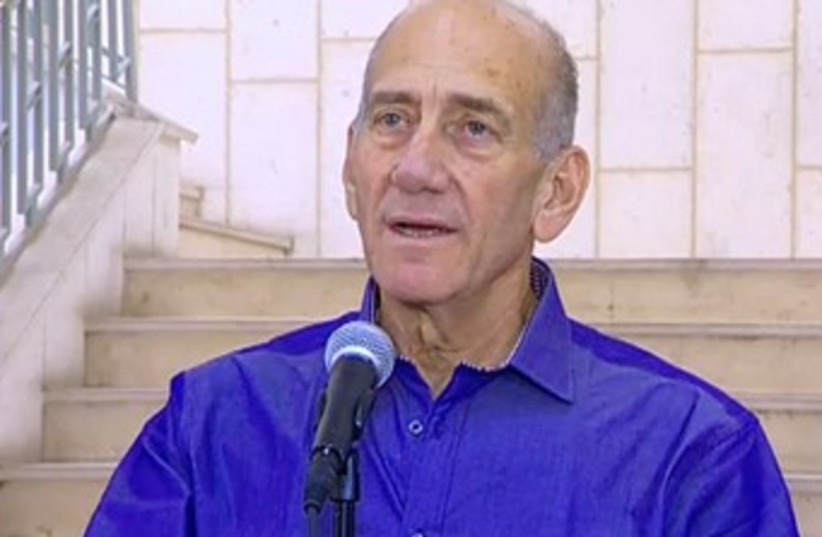 Ehud Olmert speaks following verdict (photo credit: Screenshot)