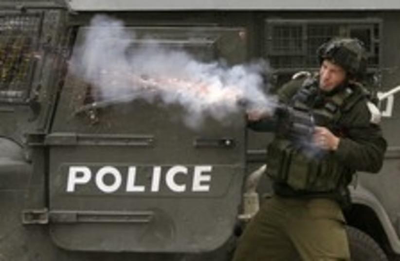 idf tear gaz protest heb (photo credit: )