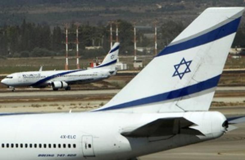 El Al airplanes sit on the runway 370 (R) (photo credit: Ronen Zvulun / Reuters)