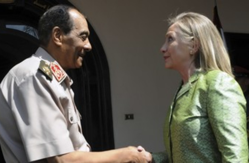 Hillary Clinton with Egypt's Tantawi 370 (R) (photo credit: reuters / handout)