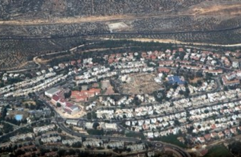 Aerial view of Ariel settlement in West Bank 370 (photo credit: Marc Israel Sellem/The Jerusalem Post)