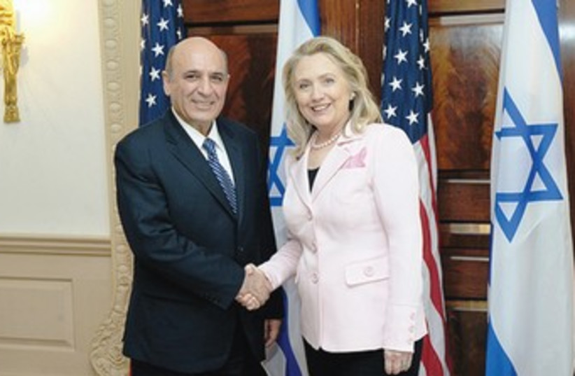 Shaul Mofaz and Hillary Clinton in Washington 370 (photo credit: US State Department)