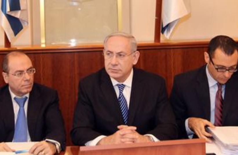PM Binyamin Netanyahu at weekly cabinet meeting 370 (photo credit: Pool / Flash 90)