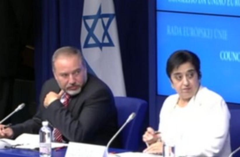 Liberman with Markoulis at meeting in Brussels 370 (photo credit: Screenshot)