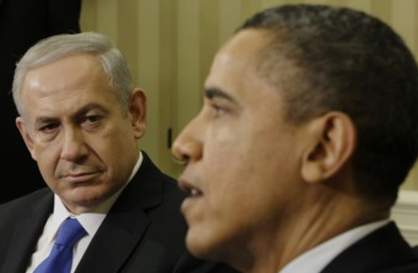 US President Obama with PM Netanyahu at White House 370 (photo credit: REUTERS/Ibraheem Abu Mustafa)