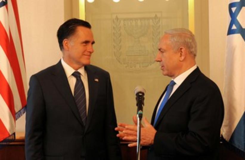 Mitt Romney and Binyamin Netanyahu 390 (photo credit: Avi Ohayon / GPO)