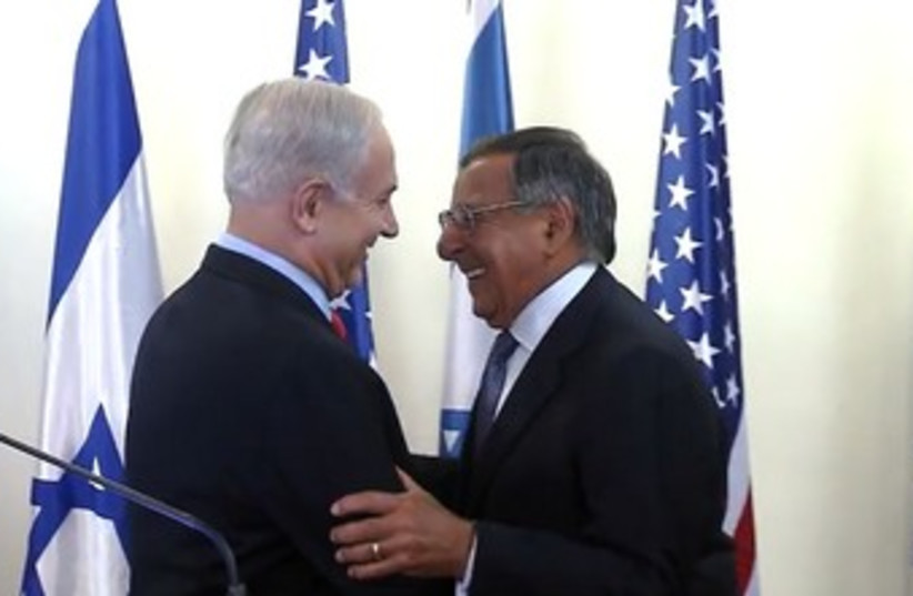 Netanyahu, Panetta shake hands 370 (photo credit: Screenshot)