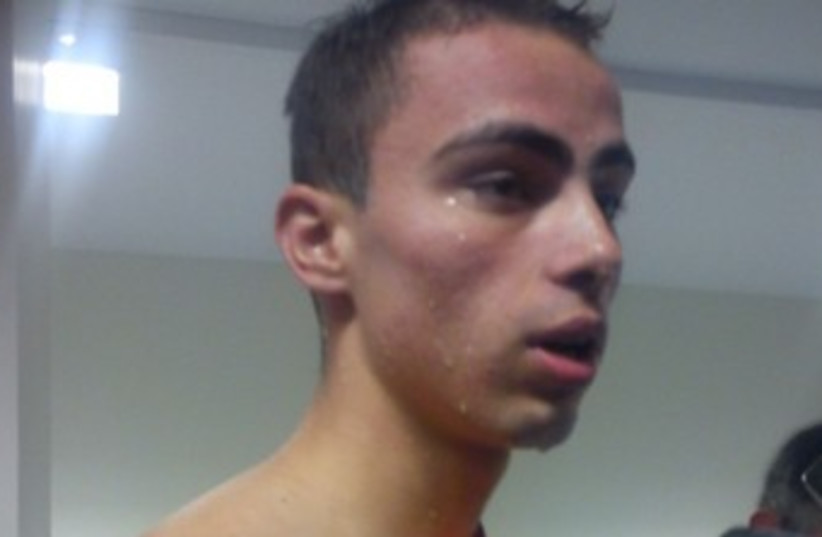 Yakov Toumarkin after swimming final 370 (photo credit: Allon Sinai)
