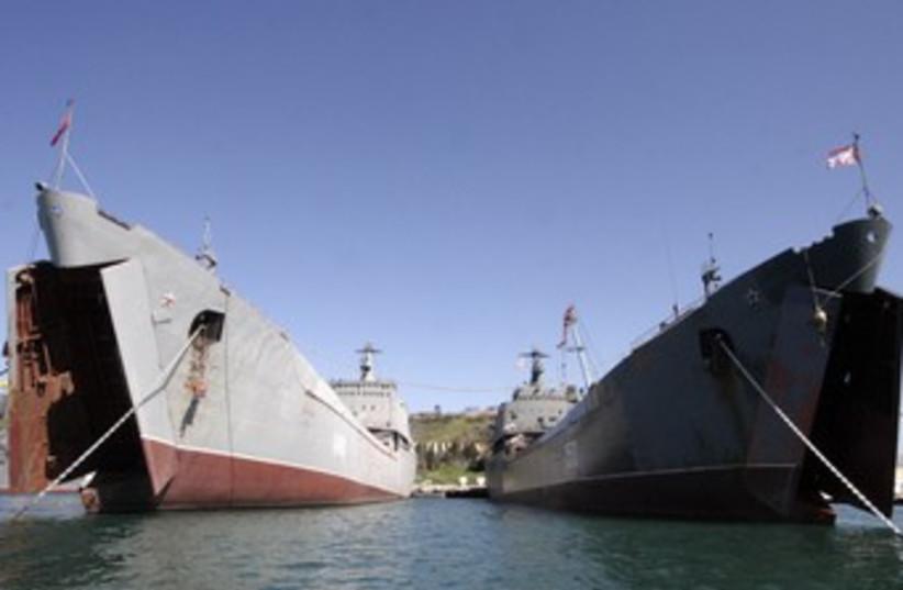 Russian naval landing ships 370 (R) (photo credit: Reuters)