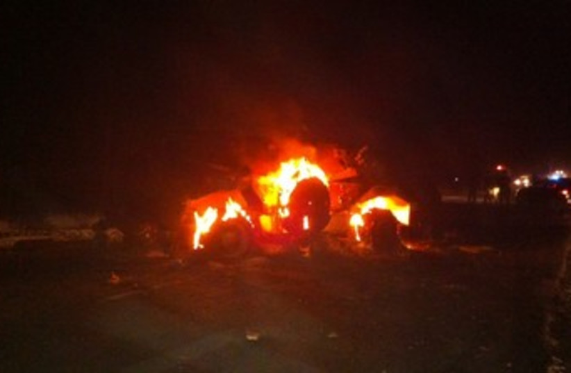 Vehicle which exploded on Egypt-Israel border 370 (photo credit: IDF Spokemans Office)