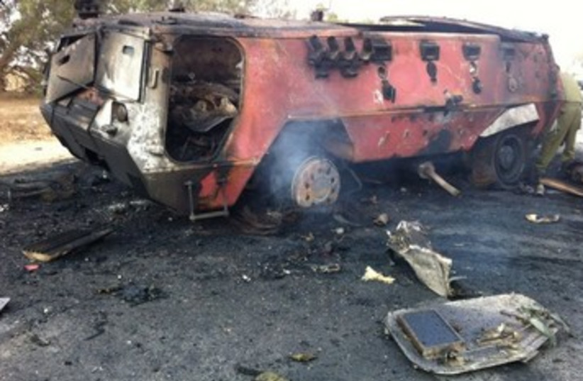 Exploded vehicle in Sinai Attack 390 (photo credit: IDF Spokesman's Office)