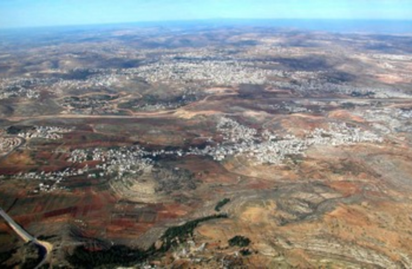 Aerial from south of Central Benjamin Plateau  (photo credit: BiblePlaces.com)