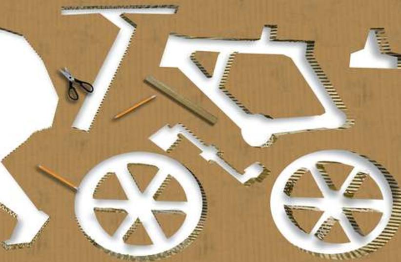 A cardboard bicycle (photo credit: AVI KATZ)