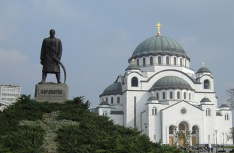 St. Sava cathedral in Belgrade, Karadjordje Petrovic statue  (photo credit: SETH J. FRANTZMAN)