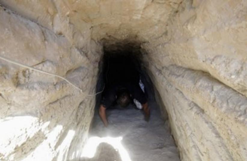 Gaza tunnel (photo credit:   REUTERS/Mohamed Abd El Ghany)