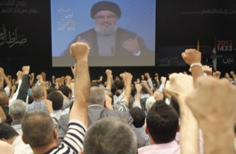 Nasrallah addresses supporters on Al-Quds Day 370 (photo credit: REUTERS)