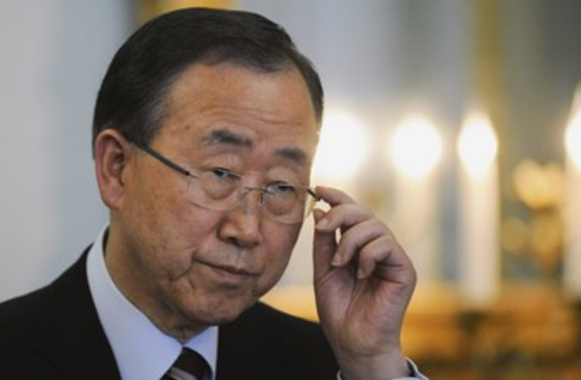 UN Secretary-General Ban Ki-moon 370 (R) (photo credit: Ki Price / Reuters)