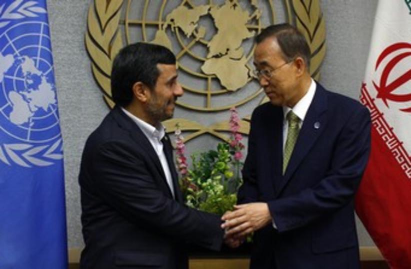 Ban and Ahmadinejad 370 (photo credit: REUTERS)