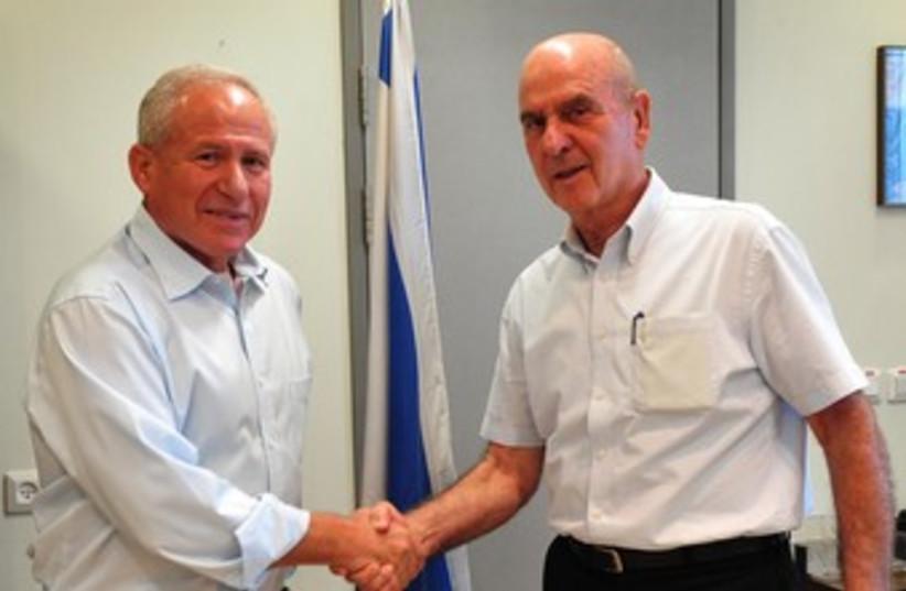Avi Dichter and Matan Vilnai 370  (photo credit: GPO / Ariel Hermoni)