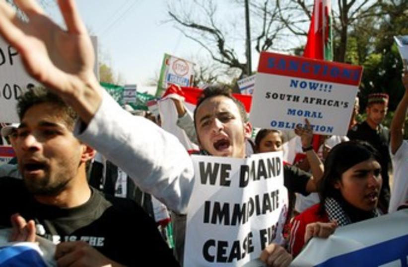 Anti-Israel protestors in South Africa 370 (photo credit: REUTERS/Siphiwe Sibeko)