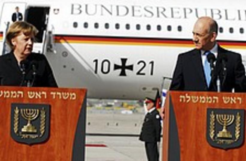 Olmert Merkel B-G 224.88 (photo credit: GPO)
