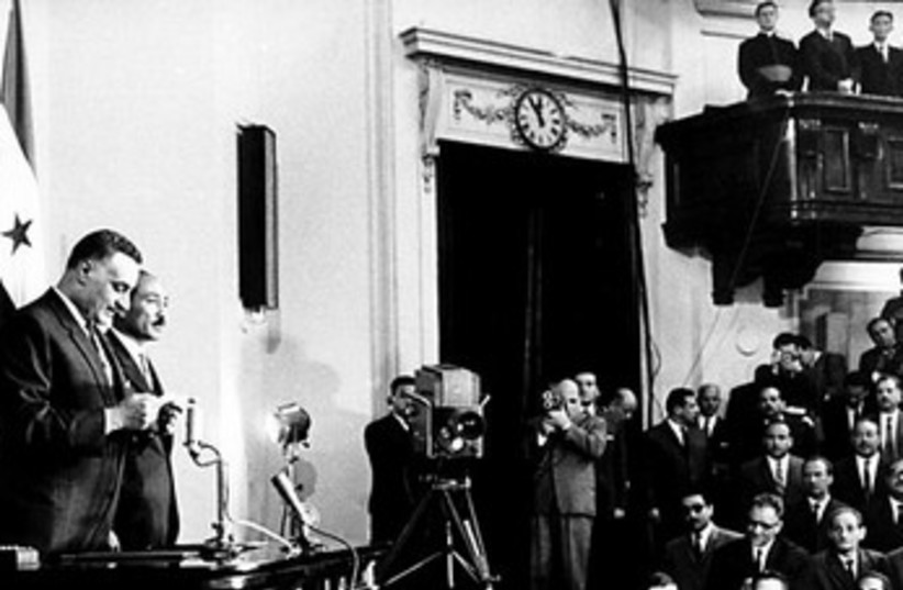 Egypt's Gamal Abdel Nasser takes presidential oath 370 (photo credit: Wikimedia Commons)