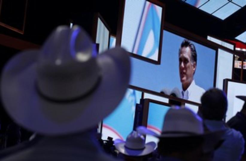 Mitt Romney on screen (R370) (photo credit:   REUTERS/Shannon Stapleton)