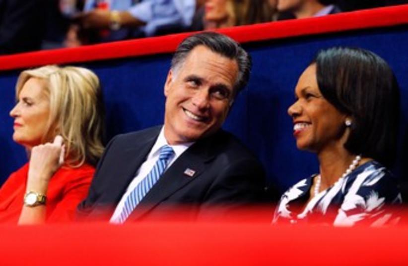 Ann Romney, Mitt Romney, Condoleezza Rice 370 (photo credit: REUTERS/Brian Snyder)
