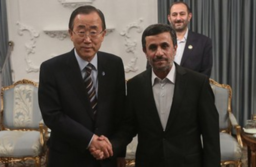 UN chief Ban Ki-moon, Iranian President Mahmoud Ahmadinejad  (photo credit: REUTERS)