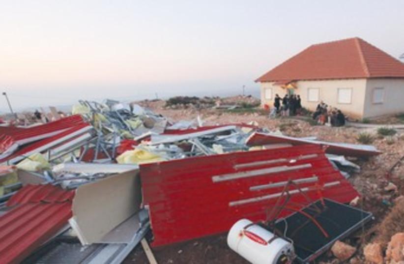 Demolition of houses in Migron 2011 370 (photo credit: Marc Israel Sellem/The Jerusalem Post)