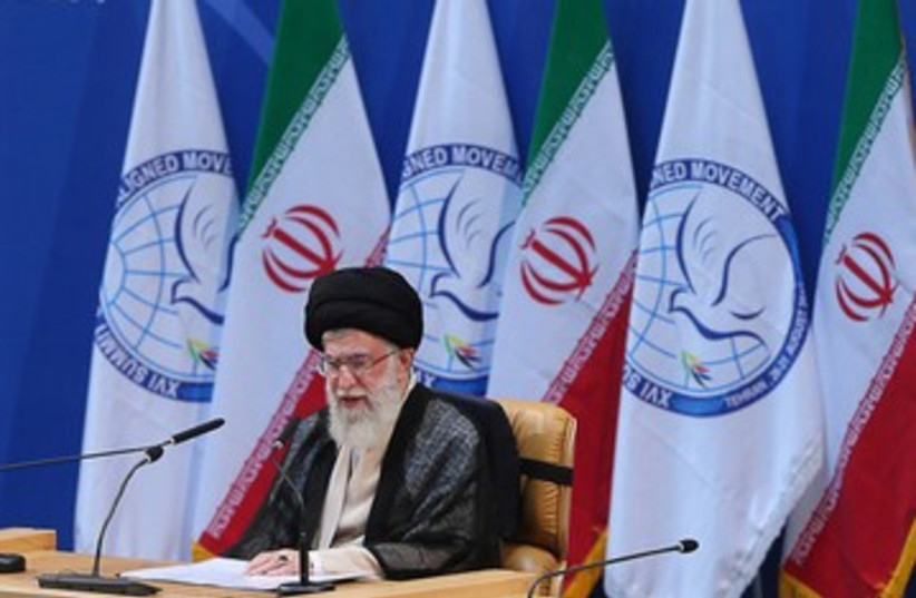 Iranian Supreme Leader Ali Khamenei at NAM 390 (photo credit: REUTERS)