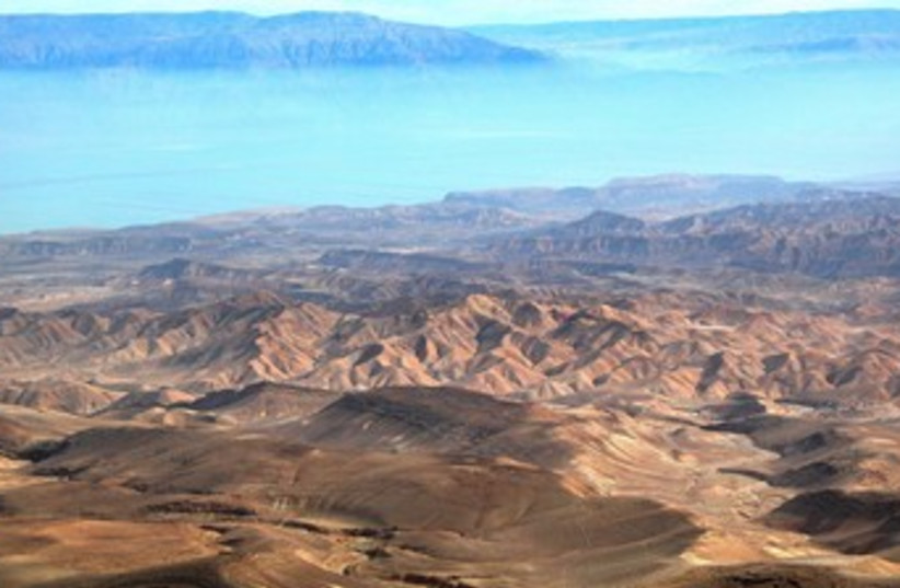 Judean wilderness and Dead Sea (photo credit: BiblePlaces.com)