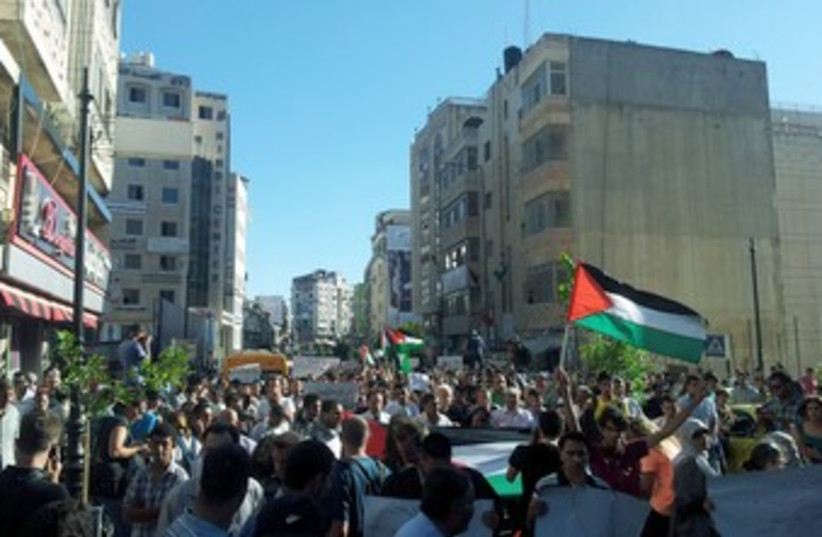 Palestinians protest in Ramallah 370 (photo credit: Michael Omer-Man)